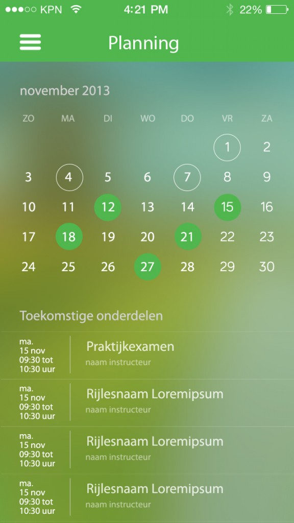 RijbewijsApp planning